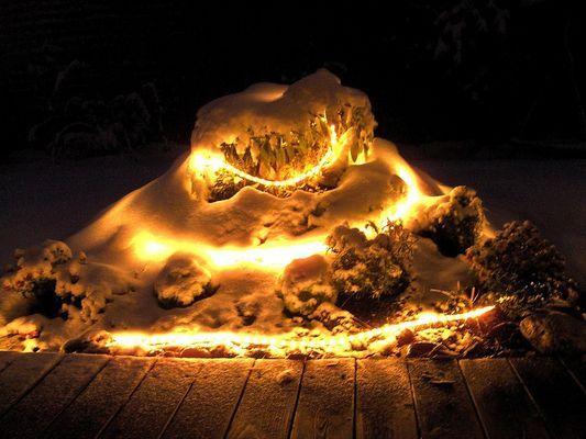 Winterlicher Kräuterhügel mit Lichterkette
