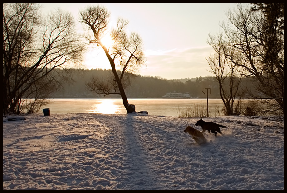 Winterlicher Sonnenaufgang am Stößensee