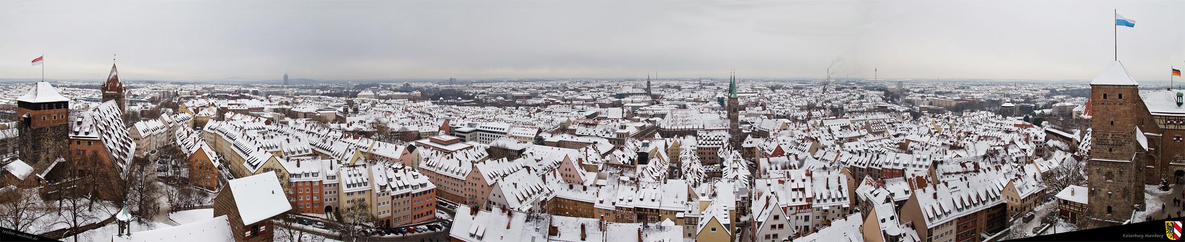 Winterliches Panorama von Nürnberg