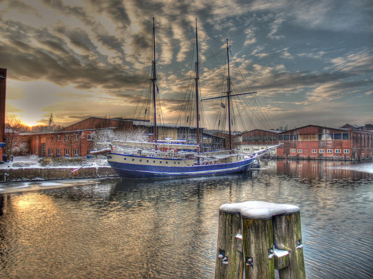 Winterstimmung im Harburger Hafen