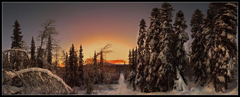 Wintertrail in den Sunrise