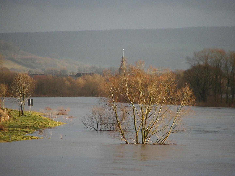 Winterweser mit Hochwasser