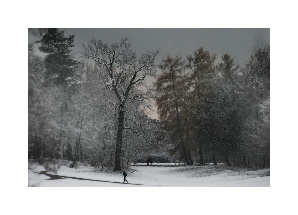 Winterwunderlandlückenfüllerschlossparkkitschbild