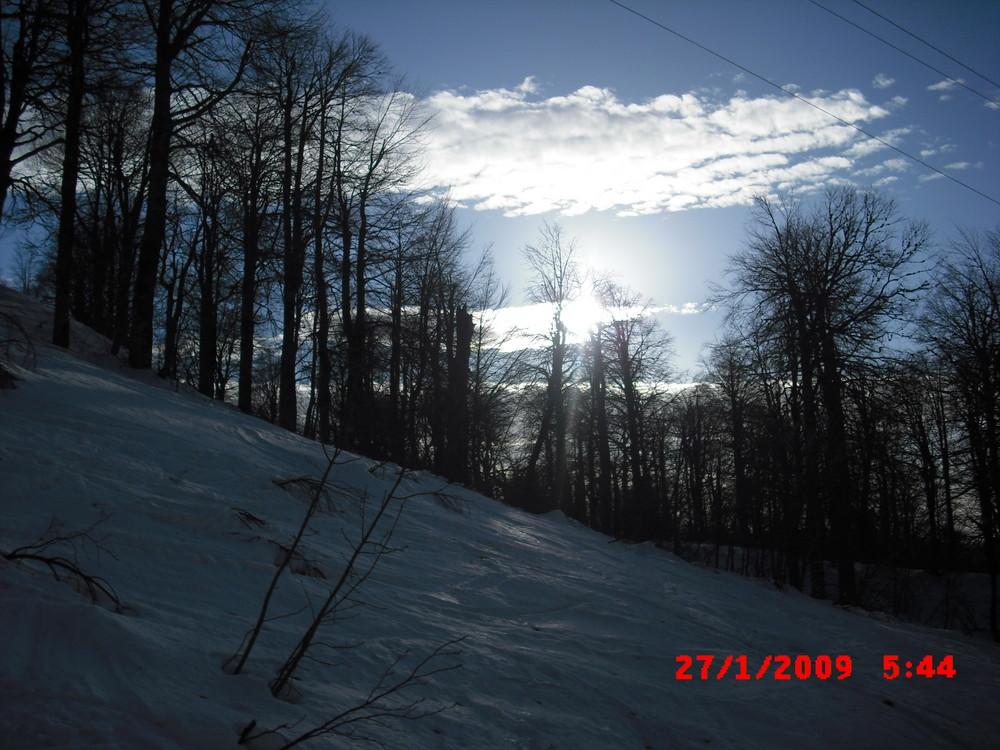 Wolken, Bäume, Schneepiste, Gegenlicht