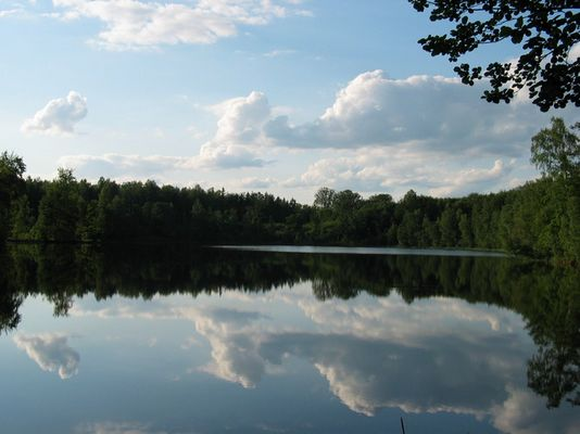 Wolkenspiegelei in einem kleinen masurischen See.