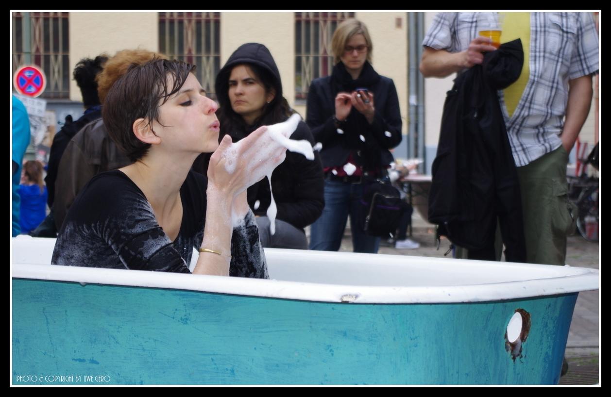 Woman takes a bath