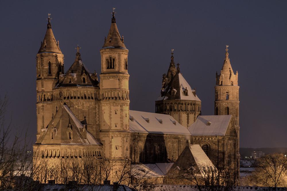 Wormser Dom mit Schnee - selten