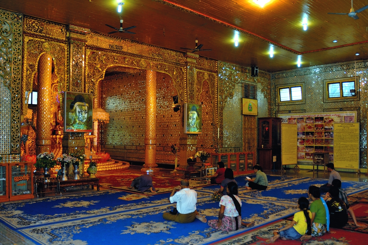 Worshippers inside Botataung Pagoda in Rangoon