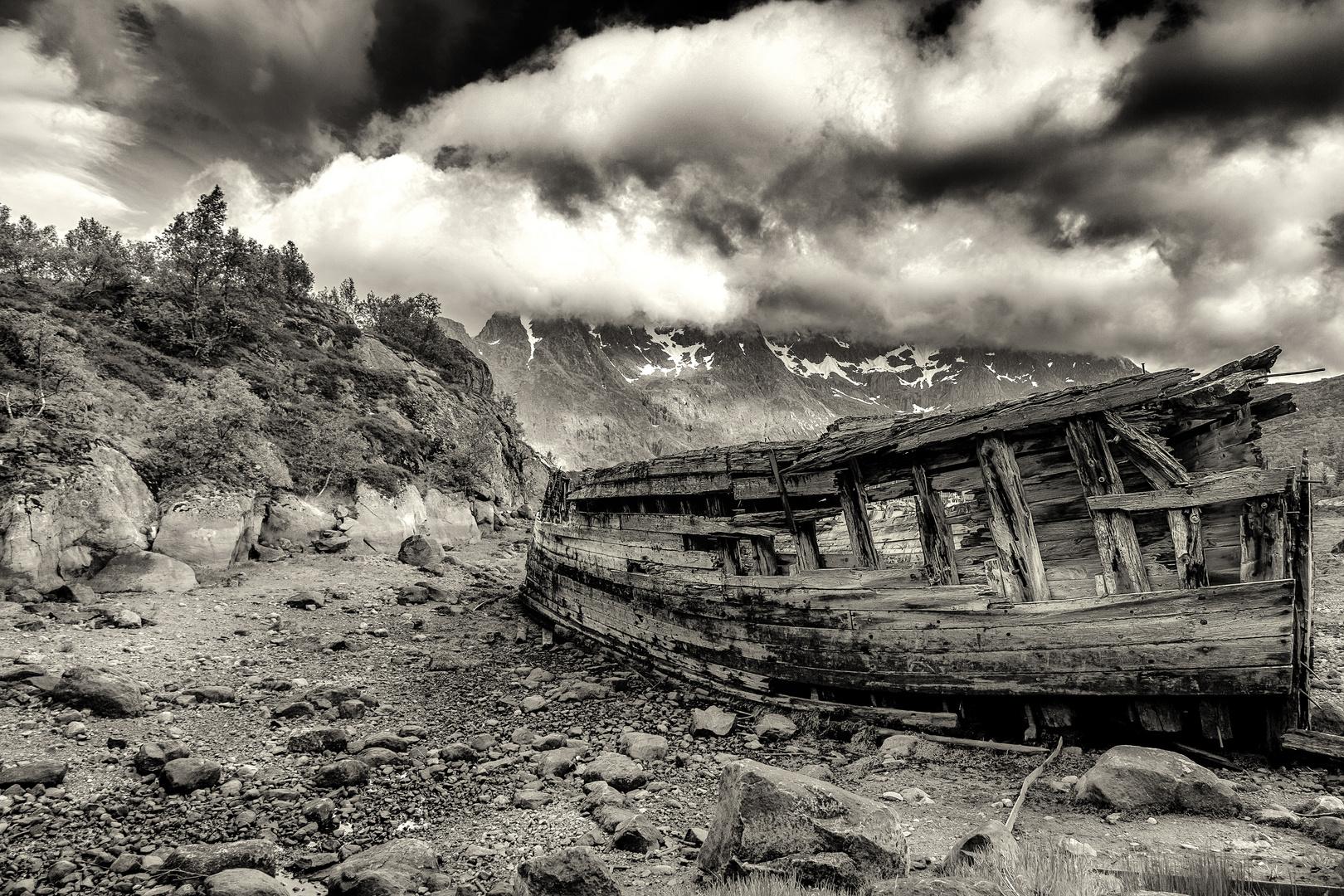 Wrack am Ende des Fjords in Sildpollnes / Norwegen