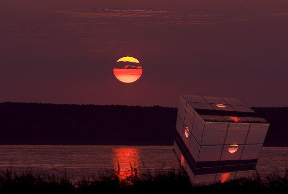 Würfeliger Sonnenuntergang