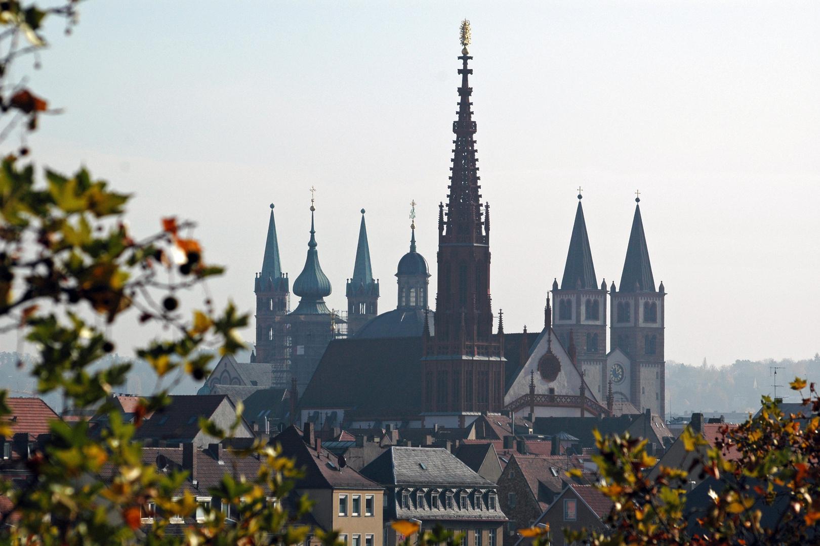 Würzburgs Kirchenlandschaft im Herbst