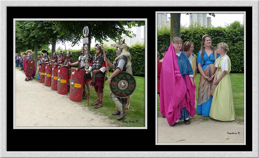 Xanten - Römerfest 2014 - Aufstellung für den Festzug - Damenbegleitung der Römer
