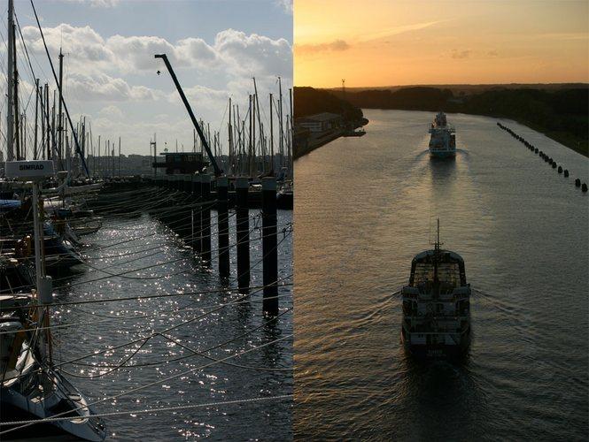 Yachthafen und Schiffe nach dem Einfahren in den Nord-Ostseekanal