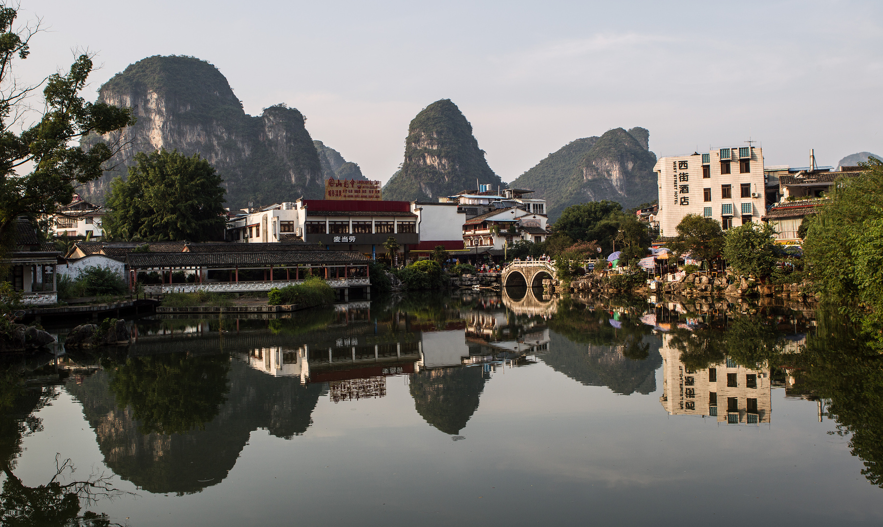 Yangshuo inner city pond