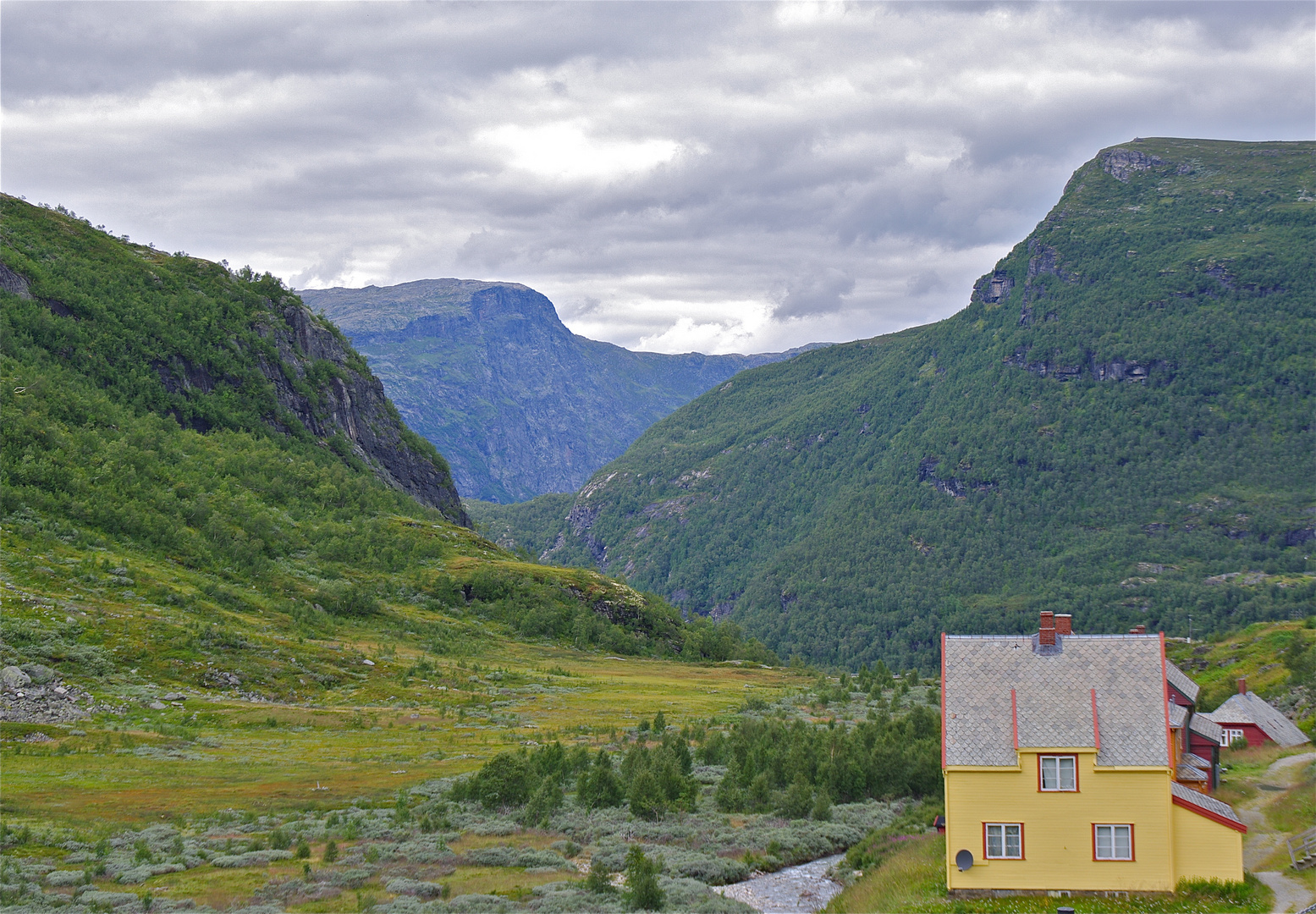 Yellow House in Flåm Mountains.