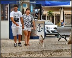 Young couple with their dog