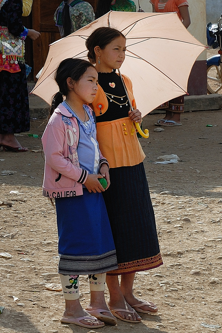 Young local visitors at the Hmong festival
