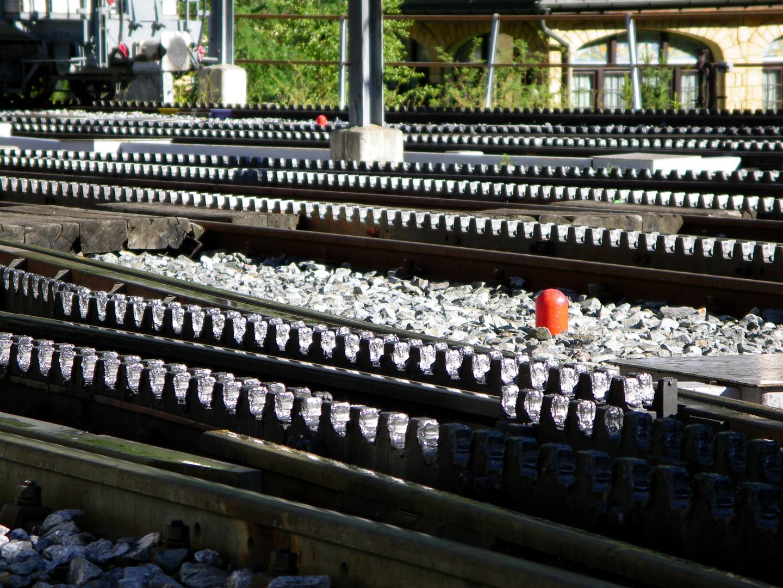 Zahnradschienen der Gornergrat-Bahn inZermatt