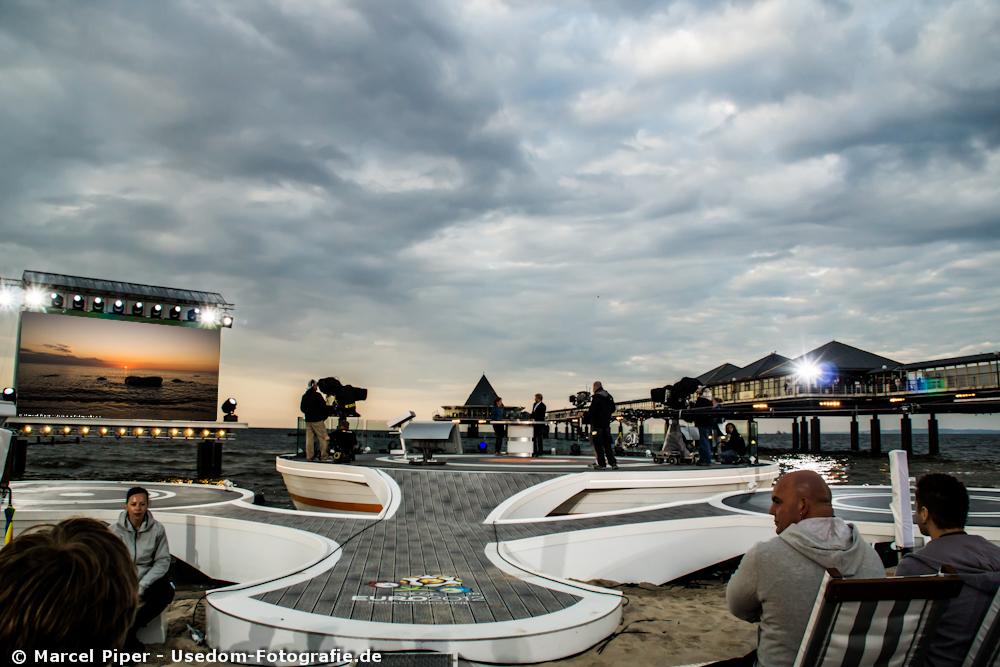 ZDF EM Arena bei Sonnenuntergang