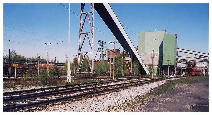 Zechenbahnhof Bergwerk Ewald im April 2000