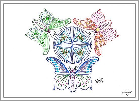 Zentangle: Tres Mariposas y Mundo