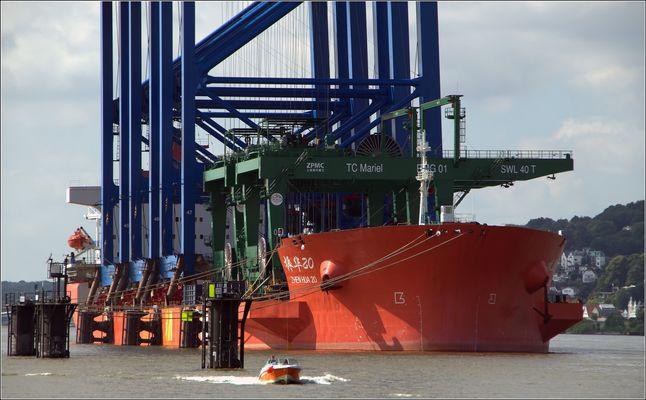 """""""ZHEN HUA 20"""" bringt Containerbrücken...von China...nach Hamburg"""