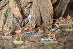 Zinnfiguren, von mir bemalt mit Ölfarben, 1980 : Neandertaler-Diorahma von damals nachgestellt