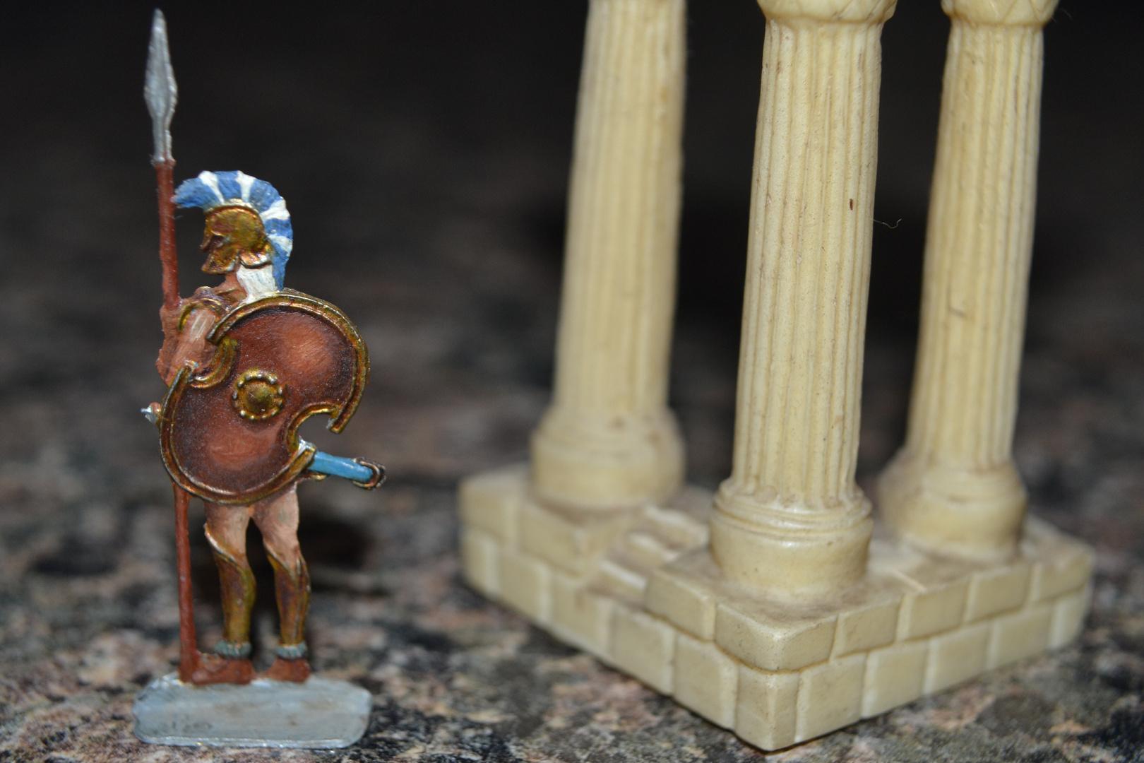 """Zinnfiguren, von mir bemalt mit Ölfarben, 1980 : Thema """"Spartaner / Krieger zu Fuß"""" - 1"""