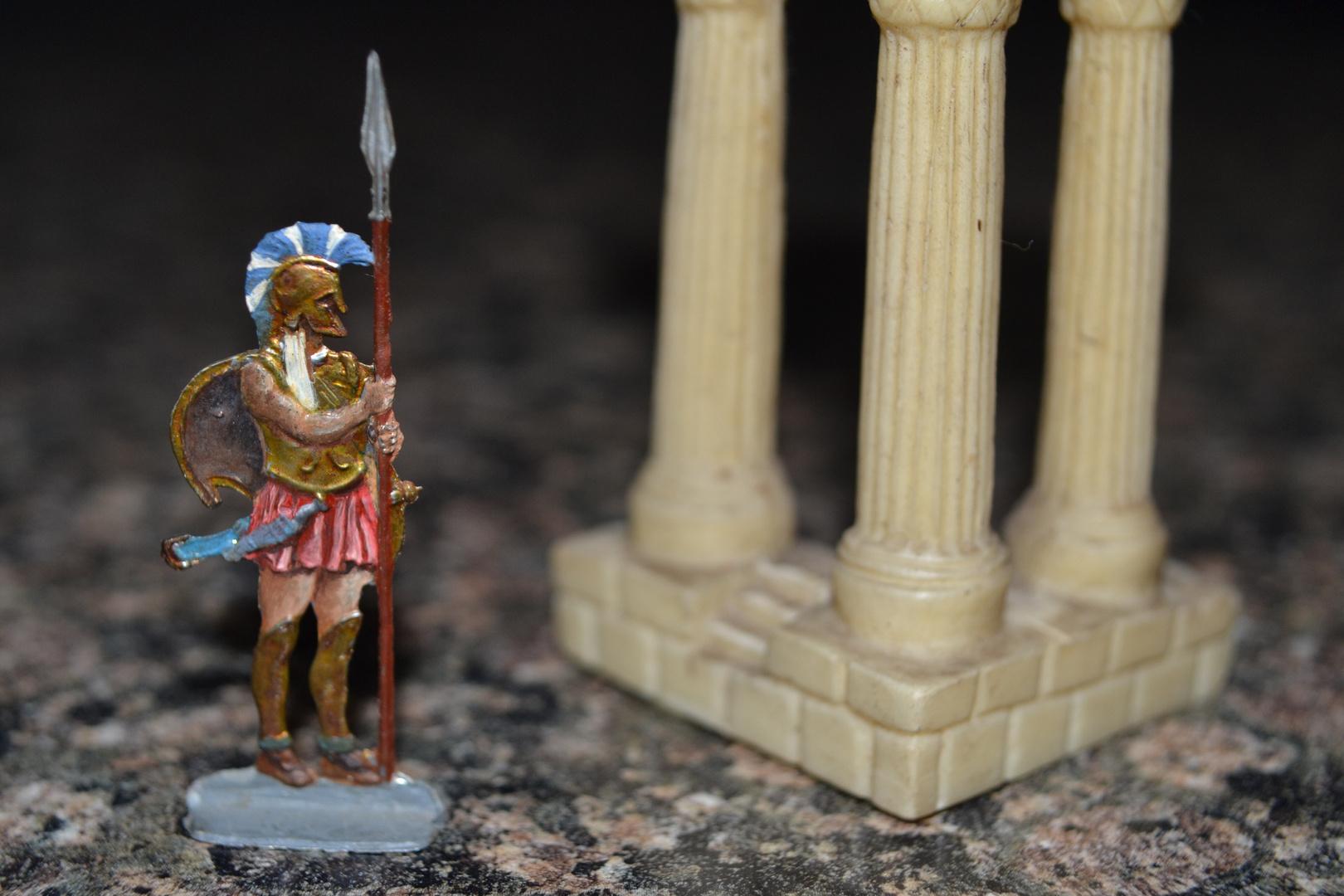 """Zinnfiguren, von mir bemalt mit Ölfarben, 1980 : Thema """"Spartaner / Krieger zu Fuß"""" - 2"""