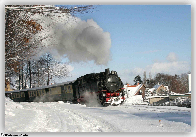 Zittauer Schmalspurbahn im Winter.