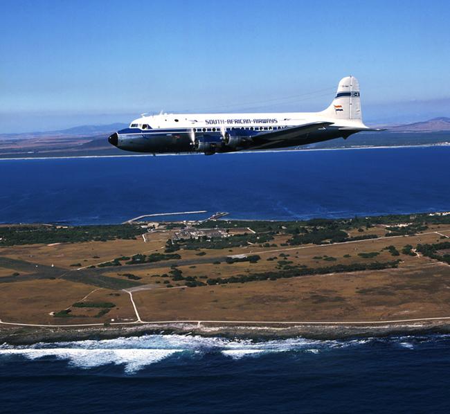 ZS-BMH DC 4 over Robben Island