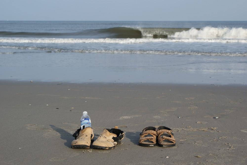 Zu zweit allein am Strand, Atlantikküste, USA