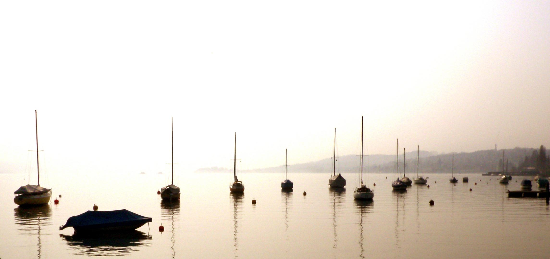 zuerichsee mit booten frühmorgens