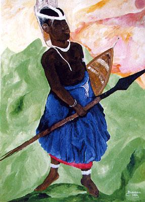 Zulu Krieger (70 X 50 Acryl)