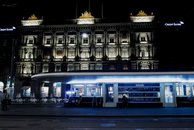 Zurich Paradeplatz by night