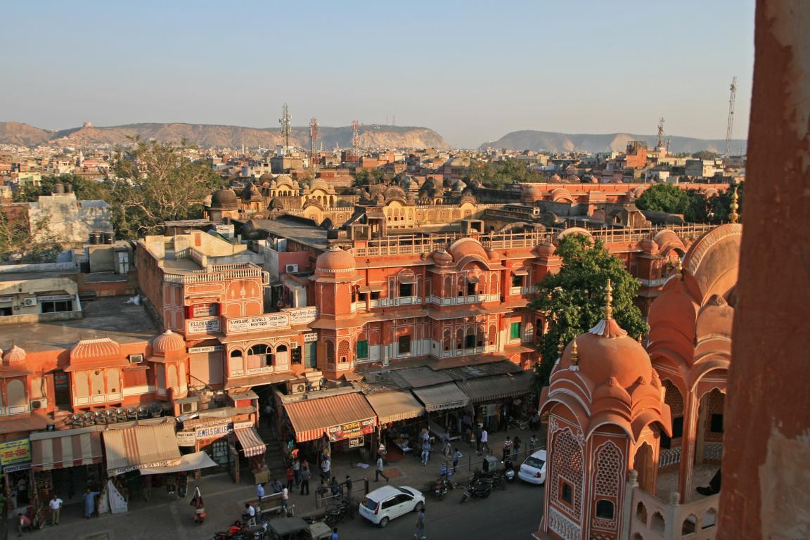 """zuvor ein Blick aus dem Fenster des """"Palastes der Winde"""" in Jaipur/ Indien"""