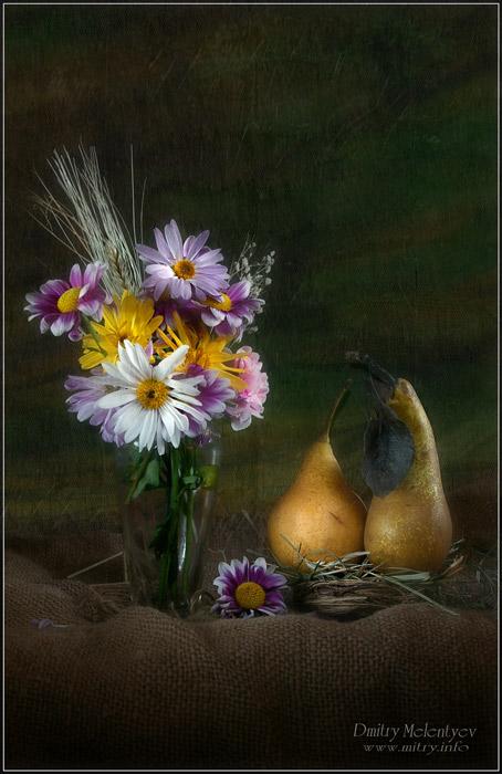 Zwei Birne - Duett für Chrysantheme Bukett