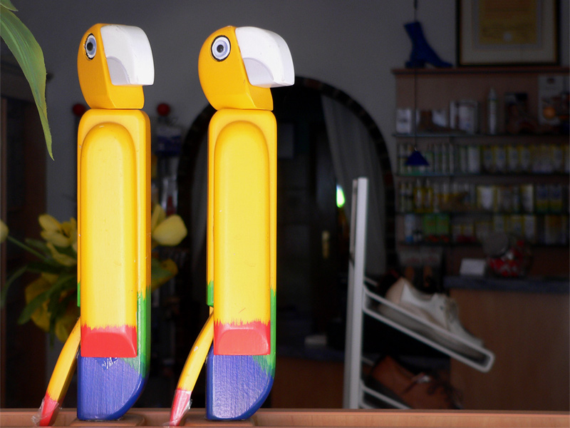 Zwei komische Vögel