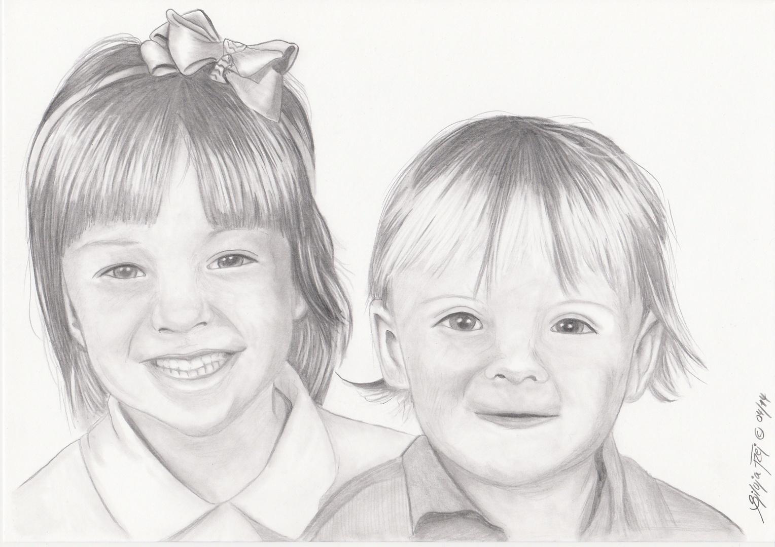 Zwei Mädels - Bleistiftzeichnung