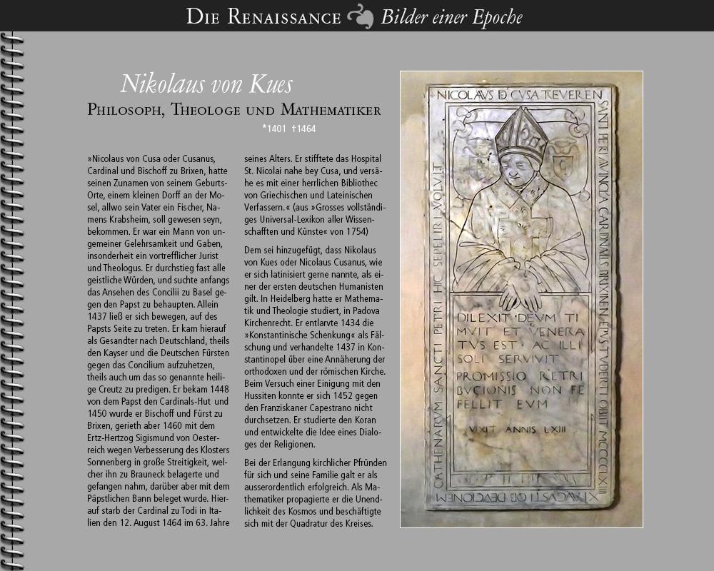 1401 • Nikolaus von Kues   Philosoph, Theologe, Mathematiker