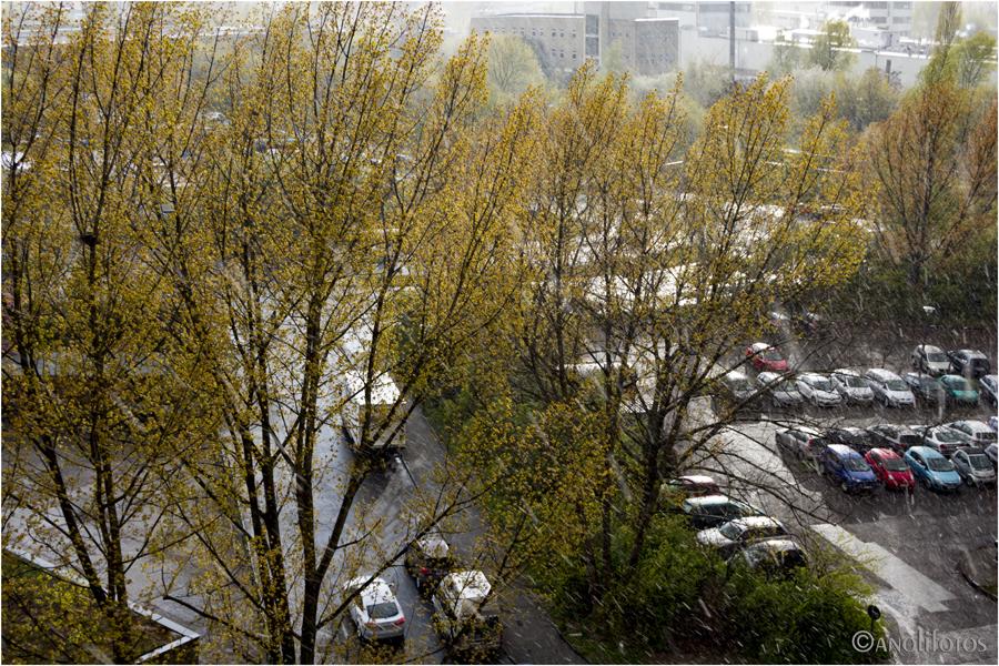 17.30 Uhr: Schneeregen in Berlin-Marzahn