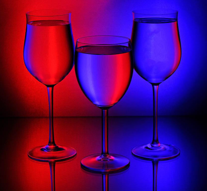 3 Glasses red&blue
