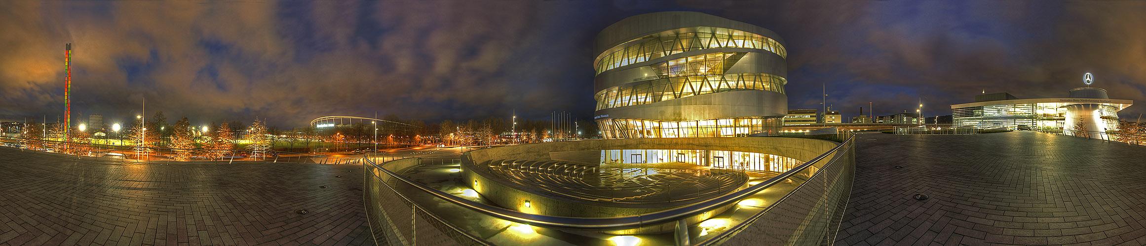 360° Panorama vom Mercedes-Benz-Museum in Stuttgart