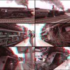 """3D-Anaglyphe """"Sonderzug auf dem Bahnhof Gera"""""""