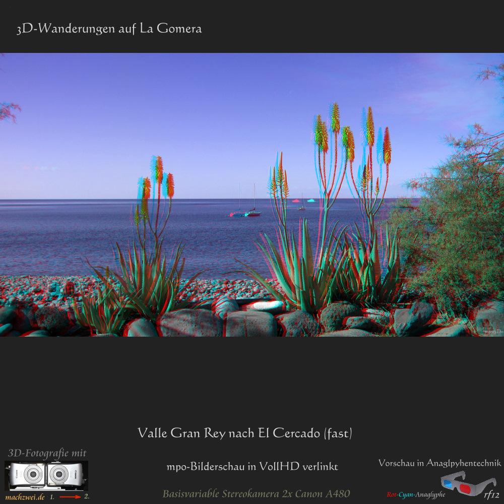 3D-Bilderschau: Wanderung auf La Gomera vom Valle Gran Rey nach Cercado