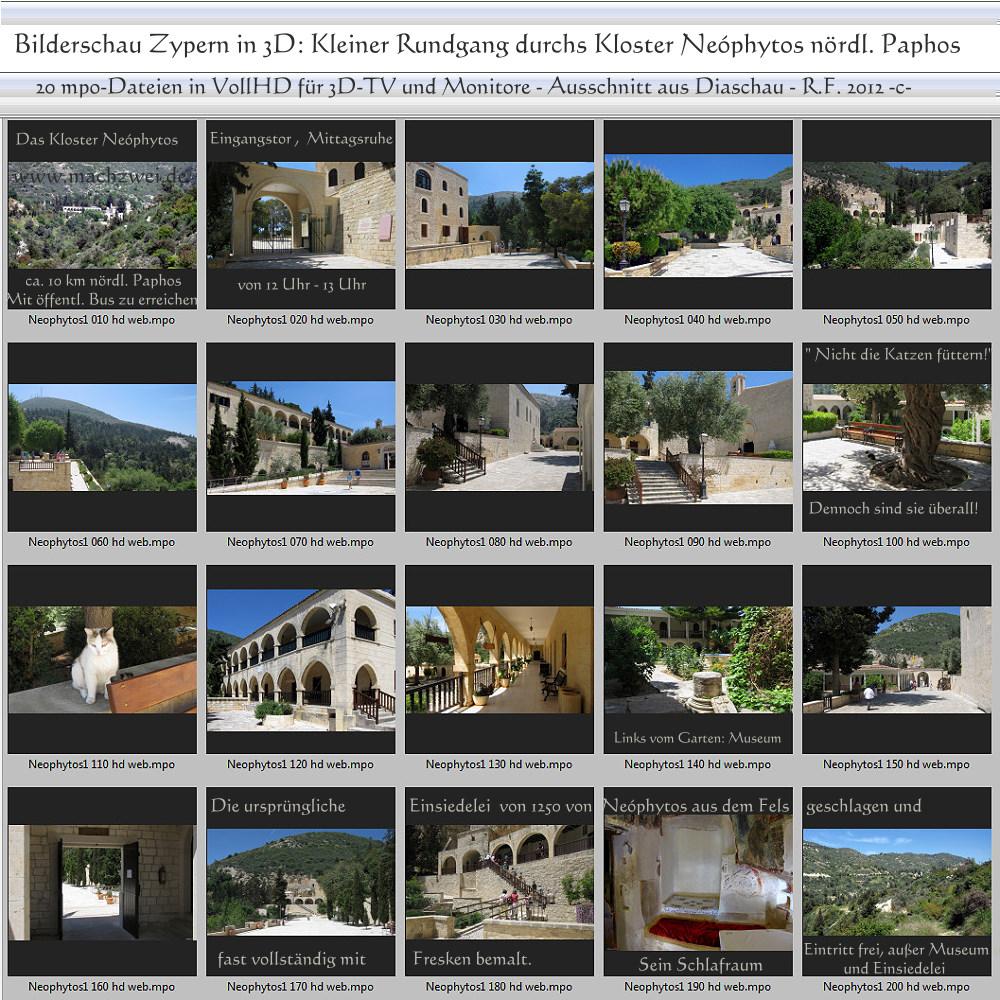 3D-Diaschau von Zypern: Moni Neóphytos bei Paphos + Bilderschau in mpo