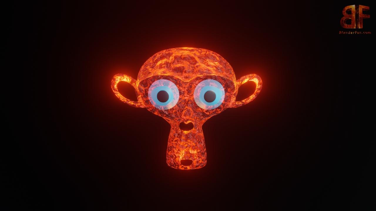 3d Monkey Lava Head