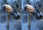 3D Parallelblick: Verschneites Eingangsschild