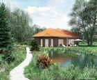 3D-Rendering Landschaft mit Einfamilienhaus