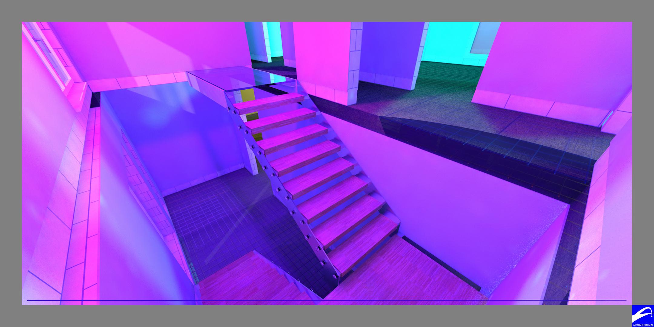 3D Rendering Stahltreppe EFH